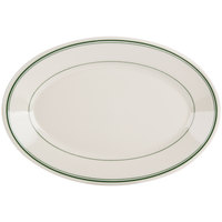 Homer Laughlin by Steelite International HL1581 Green Band Rolled Edge 15 5/8 inch x 11 1/4 inch Ivory (American White) Oval China Platter - 12/Case