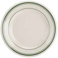 Homer Laughlin by Steelite International HL2001 Green Band Rolled Edge 5 3/8 inch Ivory (American White) China Plate - 36/Case