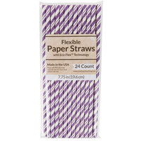 Creative Converting 329621 7 3/4 inch Jumbo Amethyst Paper Straw - 144/Case