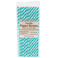 Creative Converting 329632 7 3/4 inch Jumbo Teal Lagoon Paper Straws - 144/Case