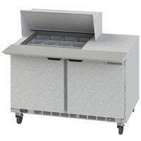 Beverage-Air SPE48HC-12M-23 Elite Series 48 inch 2 Door Mega Top ADA Height Refrigerated Sandwich Prep Table
