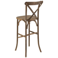 Flash Furniture XA-X-BAR-GO-BC-GG Hercules Dark Antique Wood Stackable Cross Back Barstool with Cushion