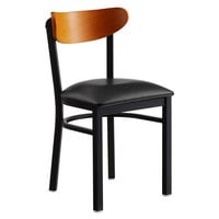 Lancaster Table & Seating Boomerang Black Chair with Black Vinyl Seat and Cherry Back