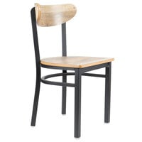 Lancaster Table & Seating Boomerang Black Chair with Driftwood Seat and Back