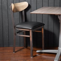 Lancaster Table & Seating Boomerang Clear Coat Chair with Black Vinyl Seat and Driftwood Back