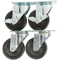 Avantco 178A4PCKIT4 4 inch Swivel Plate Casters with Mounting Hardware - 4/Set