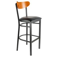 Lancaster Table & Seating Boomerang Bar Height Black Chair with Black Vinyl Seat and Cherry Back