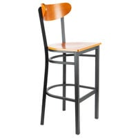 Lancaster Table & Seating Boomerang Bar Height Black Chair with Cherry Seat and Back