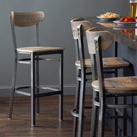 Lancaster Table & Seating Boomerang Bar Height Clear Coat Chair with Driftwood Seat and Back