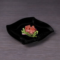 Elite Global Solutions D2510-B 10 1/4 inch Black Irregular Square Melamine Platter - 6/Case