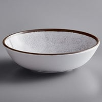 Elite Global Solutions DB8225M-W Mojave Vintage California 32 oz. White Crackle Round Melamine Bowl   - 6/Case