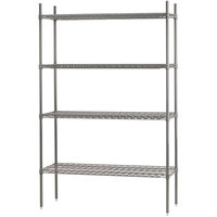 Advance Tabco ECC-2460 4-Shelf NSF Chrome Wire Shelving Combo - 24 inch x 60 inch x 74 inch