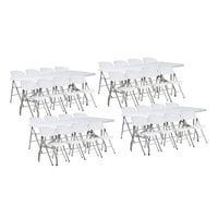 Lancaster Table & Seating (4) 30 inch x 72 inch Granite White Heavy-Duty Blow Molded Plastic Folding Tables with 32 White Folding Chairs