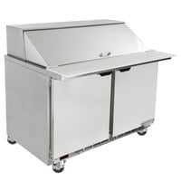 Beverage-Air SPE48HC-18M-23 48 inch 2 Door Mega Top ADA Height Refrigerated Sandwich Prep Table
