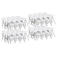 Lancaster Table & Seating (4) 30 inch x 96 inch Granite White Heavy-Duty Blow Molded Plastic Folding Tables with 32 White Folding Chairs