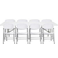 Lancaster Table & Seating 30 inch x 96 inch Granite White Heavy-Duty Blow Molded Plastic Folding Table with 8 White Folding Chairs