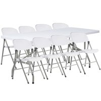 Lancaster Table & Seating 30 inch x 72 inch Granite White Heavy-Duty Blow Molded Plastic Folding Table with 8 White Folding Chairs
