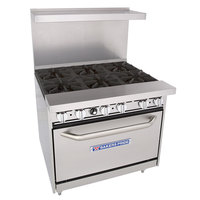 Bakers Pride 36-BP-6B-C30 Restaurant Series Liquid Propane 6 Burner Range with 30 inch Convection Oven - 280,000 BTU
