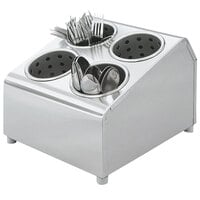 Vollrath 97240 Silv-A-Tainer 4-Hole Stainless Steel Flatware Cylinder Holder