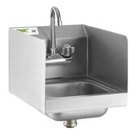 Regency 12 inch x 16 inch Wall Mounted Hand Sink with Gooseneck Faucet and Side Splash