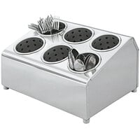 Vollrath 97241 Silv-A-Tainer 6-Hole Stainless Steel Flatware Cylinder Holder
