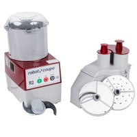 Robot Coupe R2N Combination Continuous Feed Food Processor with 3 Qt. Gray Polycarbonate Bowl - 1 hp