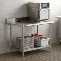 Regency 30 inch x 48 inch 16-Gauge Stainless Steel Commercial Work Table with 4 inch Backsplash and Undershelf