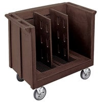 Cambro TDC30131 Adjustable Dark Brown Tray and Dish Cart with Vinyl Cover