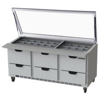 Beverage-Air SPED72HC-30M-6-STL 72 inch 6 Drawer Mega Top Glass Lid Refrigerated Sandwich Prep Table