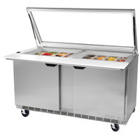 Beverage-Air SPE60HC-24M-STL-23 60 inch 2 Door Mega Top ADA Height Glass Lid Refrigerated Sandwich Prep Table