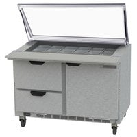 Beverage-Air SPED48HC-18M-2-STL 48 inch 1 Door 2 Drawer Mega Top Glass Lid Refrigerated Sandwich Prep Table