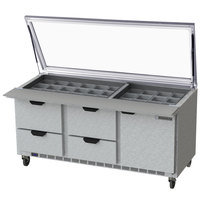 Beverage-Air SPED72HC-30M-4-STL 72 inch 1 Door 4 Drawer Mega Top Glass Lid Refrigerated Sandwich Prep Table