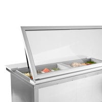 Beverage-Air SPE48HC-18M-STL-018 48 inch 2 Door Mega Top Glass Lid Refrigerated Sandwich Prep Table with Stainless Steel Back