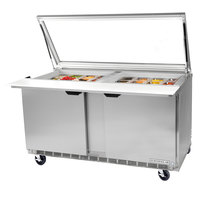 Beverage-Air SPE72HC-30M-STL-02 72 inch 3 Door Mega Top Glass Lid Refrigerated Sandwich Prep Table with Stainless Steel Interior