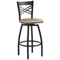 Lancaster Table & Seating Cross Back Bar Height Black Swivel Chair with Driftwood Seat