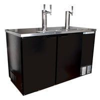 Beverage-Air DD58HC-1-B-ALT Black 1 Single and 1 Double Tap Kegerator Beer Dispenser with Right Side Compressor - (3) 1/2 Keg Capacity