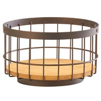 Cal-Mil 3911-10-84 Sierra 10 inch Bronze Metal and Rustic Pine Accent Basket