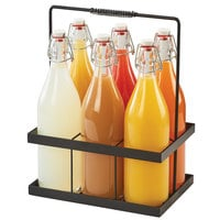 Cal-Mil 3660-13 11 inch x 7 1/2 inch x 14 inch 6-Bottle Caddy with 32 oz. Glass Bottles with Wire Bail Swing Top Lids