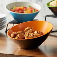 GET B-788-OR/BK Brasilia 16 oz. Orange and Black Slanted Melamine Catering Bowl
