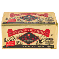 Wuthrich 1 Lb. 83% Unsalted European Butter - 36/Case