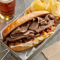 Levan Bros. 40-Count Case of 4 oz. Portions Lightly Seasoned Beef Steak Sandwich Slices - 10 lb.