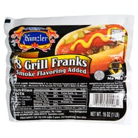 Kunzler 8/1 Retail Grill Franks - 96/Case