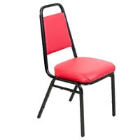 Lancaster Table & Seating Red Stackable Chair with 2 inch Padded Seat