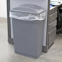Lavex Janitorial 23 Gallon Gray Slim Rectangular Trash Can and Gray Flat Lid with Handle