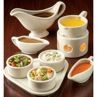 Hall China by Steelite International HL11440AWHA Ivory (American White) 3 oz. China Sauce Boat - 24/Case