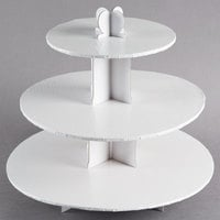 Enjay CS-WHITE 3-Tier Disposable White Cupcake Treat Stand - 6/Case