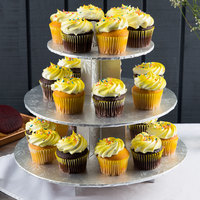 Enjay CS-SILVER 3-Tier Disposable Silver Cupcake Treat Stand - 6/Case