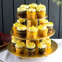 Enjay CS-GOLD 3-Tier Disposable Gold Cupcake Treat Stand - 6/Case