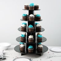 Enjay CS-5T-BLACK 5-Tier Disposable Black Cupcake Treat Stand - 6/Case