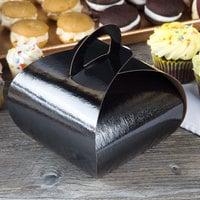 Enjay B-TULIPSINGLEBLACK 4 inch x 4 inch x 3 3/4 inch Black Single Cupcake Tulip Box with 1 Compartment Insert - 100/Case